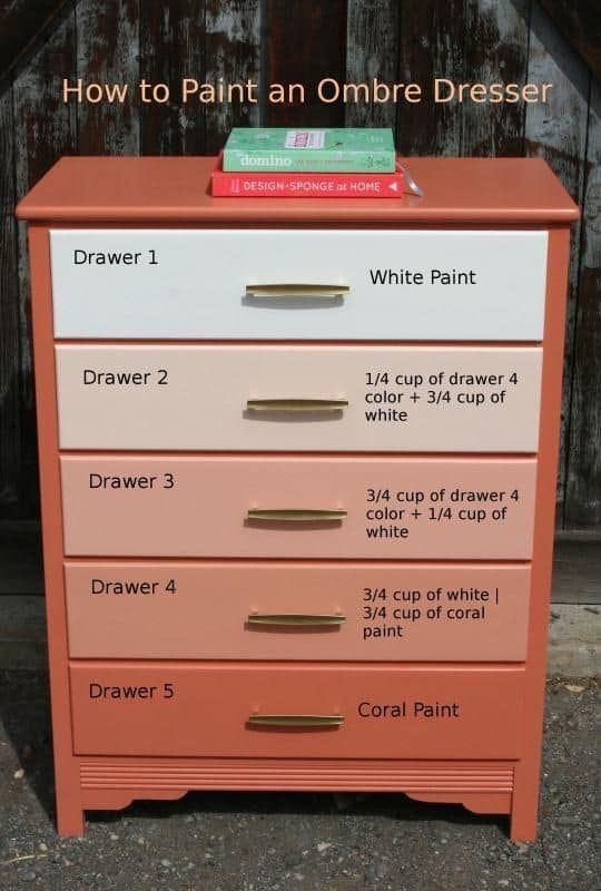 DIY Gradient (Ombre) Painted Dresser