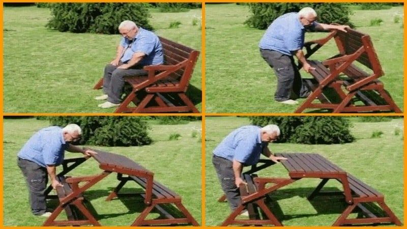 Two-In-One Picnic Table Bench