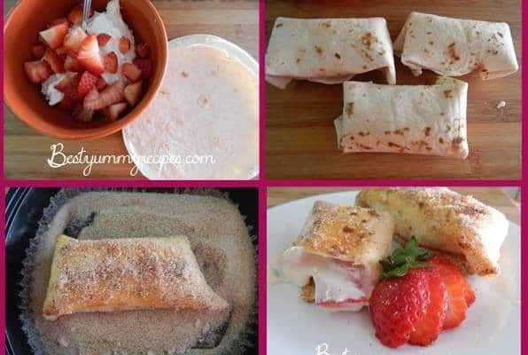 Sweet Strawberry Cheesecake Chimichangas