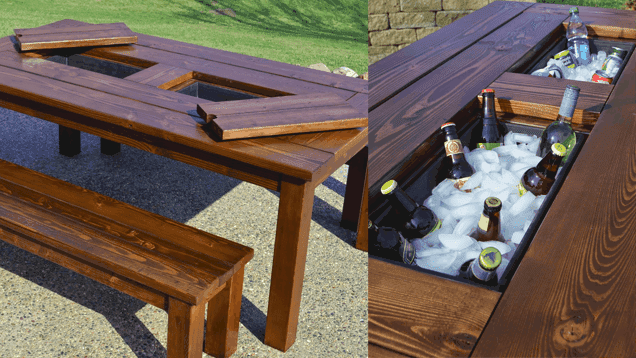 DIY Patio Table With Built-In Drink Cooler