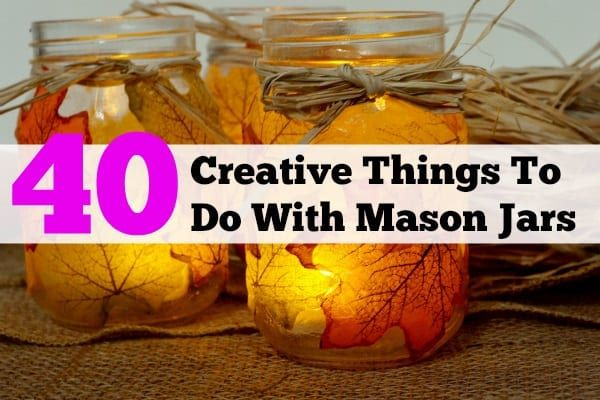 has a brilliant roundup that I am so excited to feature! If you love mason jars as much as I do, you will love it too. I am always amazed at how many things there are to do with mason jars! Here are 40 DIYs for organization, crafts, home decor, gardening, cooking, and gifts that are easy and awesome...
