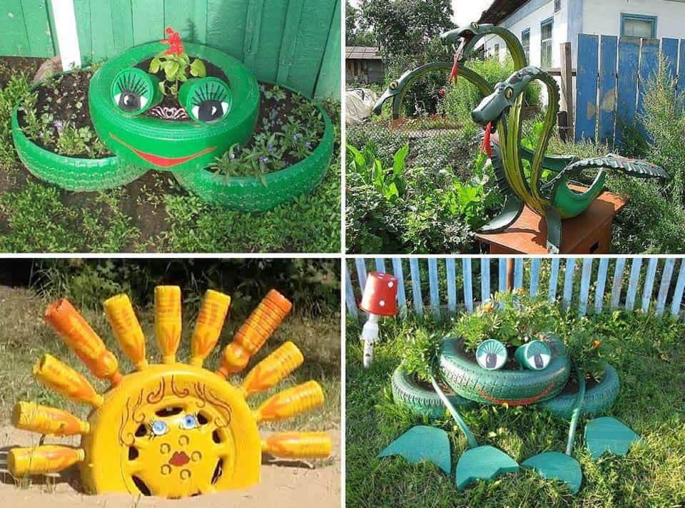 40+ DIY Repurpose Tire Animals For The Garden