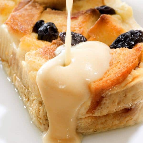 Homemade Bread Pudding With Vanilla Cream Sauce