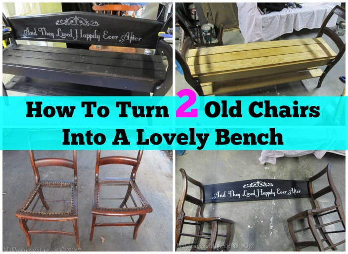 old chairs into bench