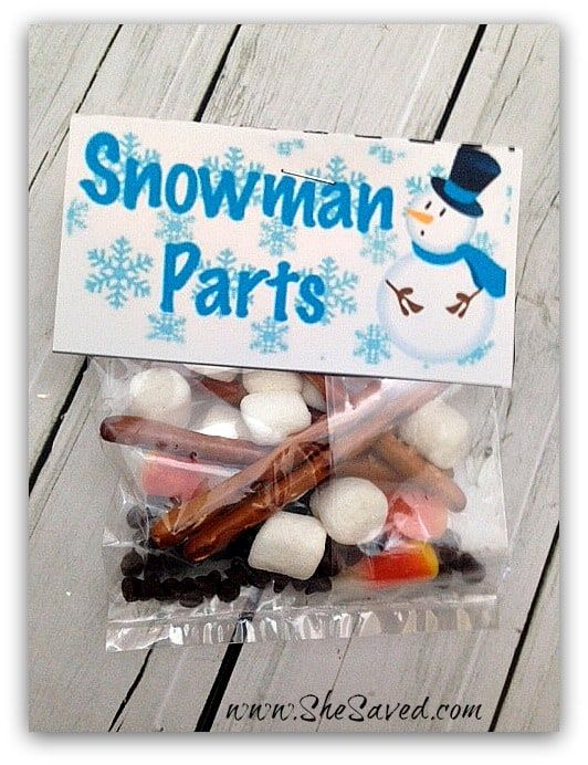 Snowman Parts Snack (Free Printable)
