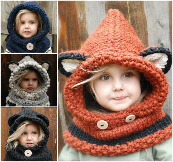crochet cowl with animal ears