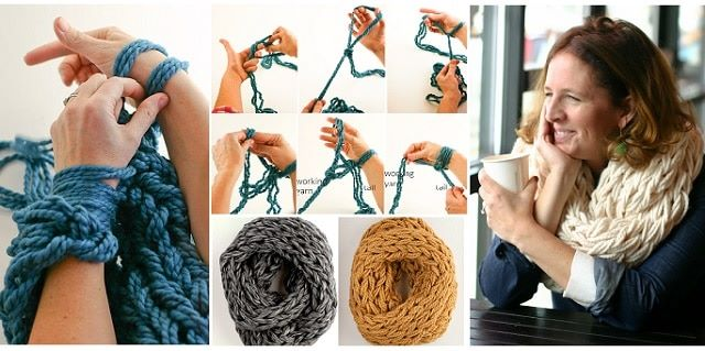 How To Make A Lovely Scarf With Arm Knitting