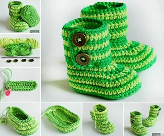 Baby Booties Crochet Pattern Green Zebra