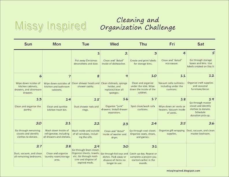 Ring In The New Year: Cleaning And Organization Challenge