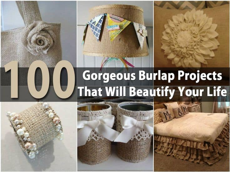 100 diy burlap projects for a more shabby chic home this is a great roundup full of wonderful do it yourself burlap projects they are unique and beautiful decorating with burlap gives a rustic feel to your solutioingenieria Gallery