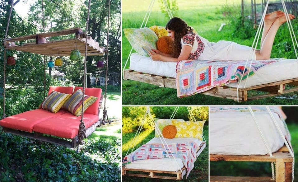 How to build a hanging pallet bed diy cozy home for Diy hanging bed plans