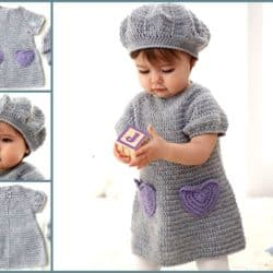 Beehive Crochet Baby Dress And Hat Pattern