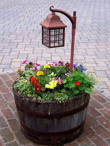 barrel planter lamp post