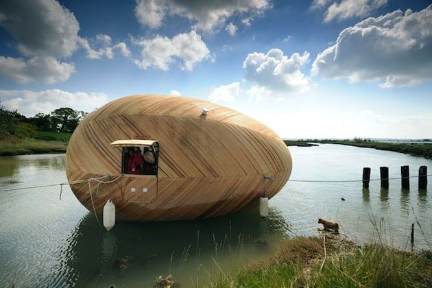 floating wooden egg house