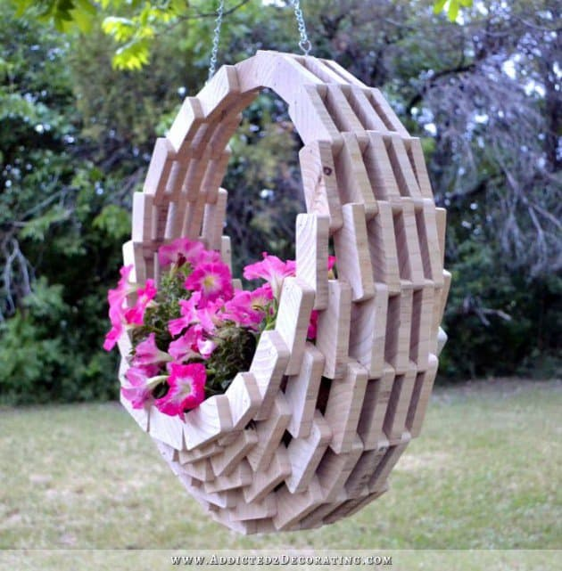 hanging wooden basket
