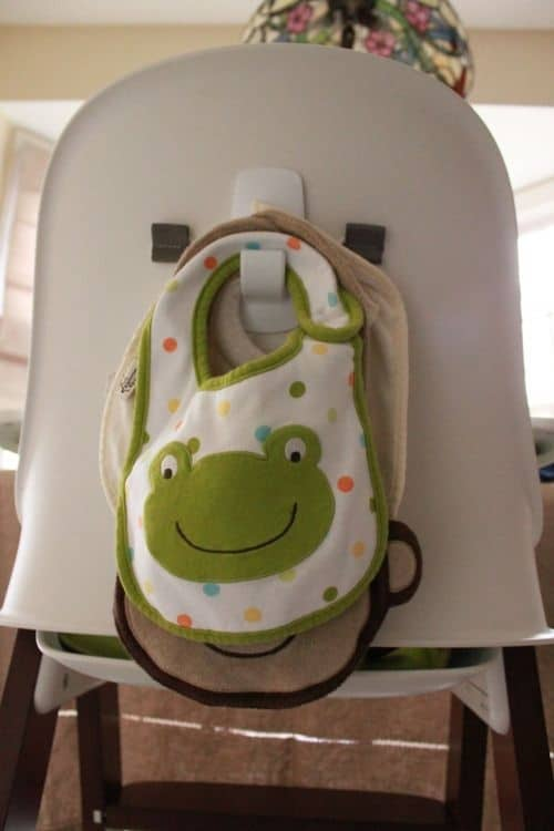 hang bibs behind high chair