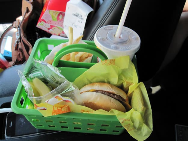 basket for kids eating in the car