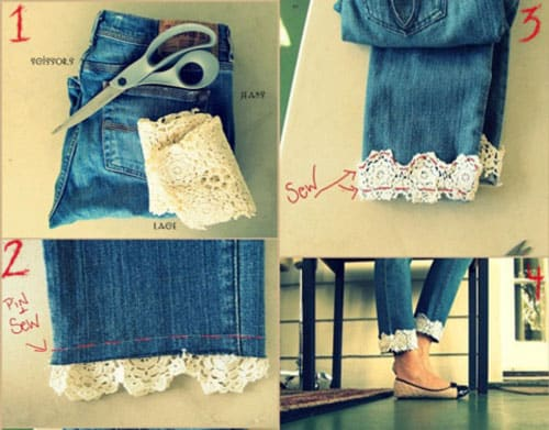 lace bottom jeans