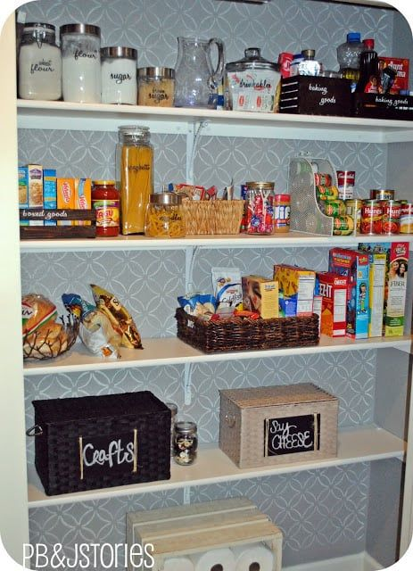 magazine racks in pantry