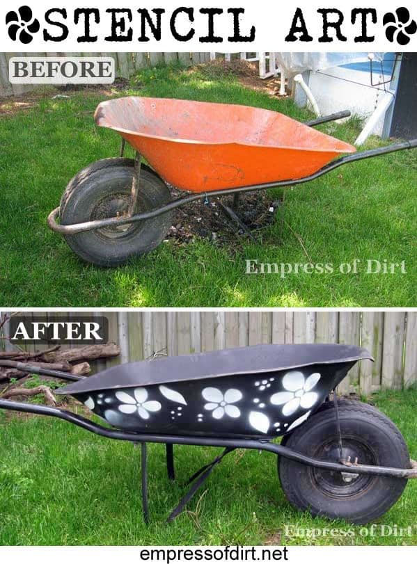 stenciled wheelbarrow