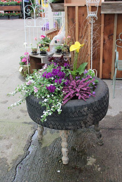 flower tire planter