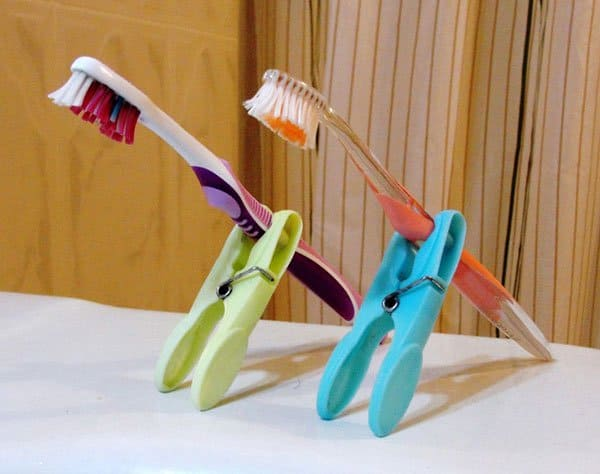 clothes pin toothbrush holder