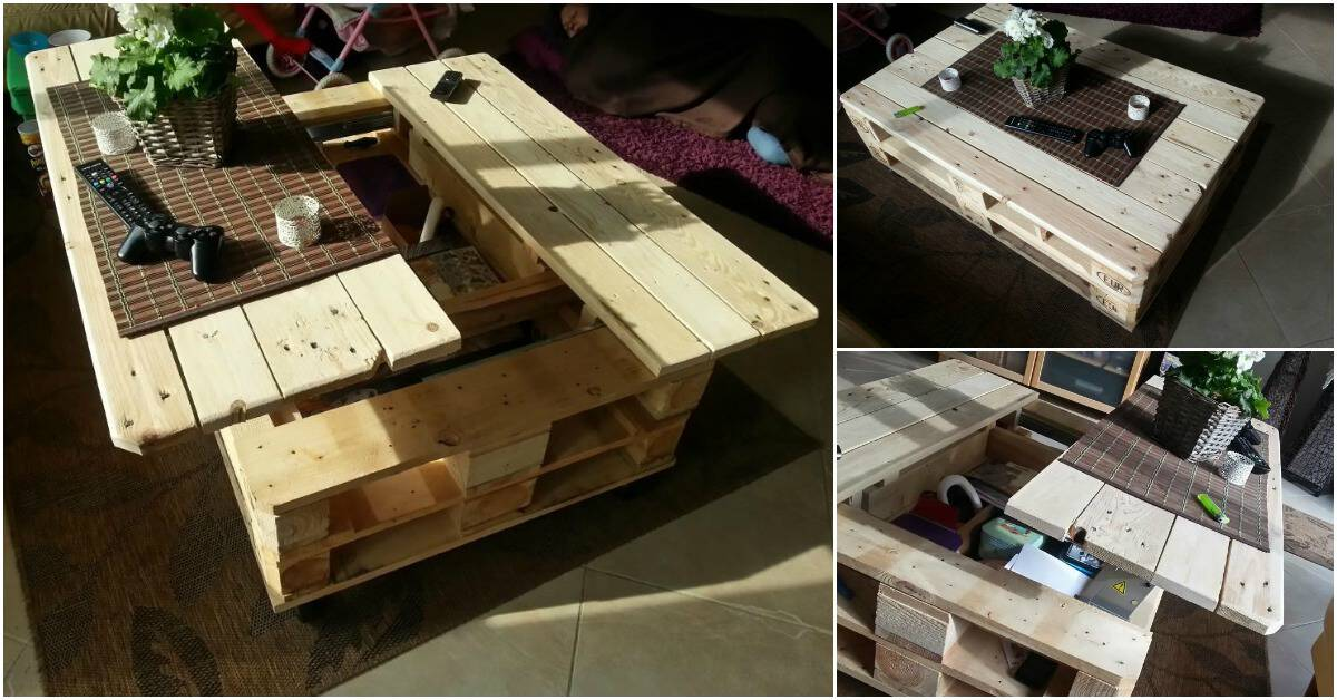 Diy pallet coffee table with a built in lift and slide out for How to build a coffee table out of pallets