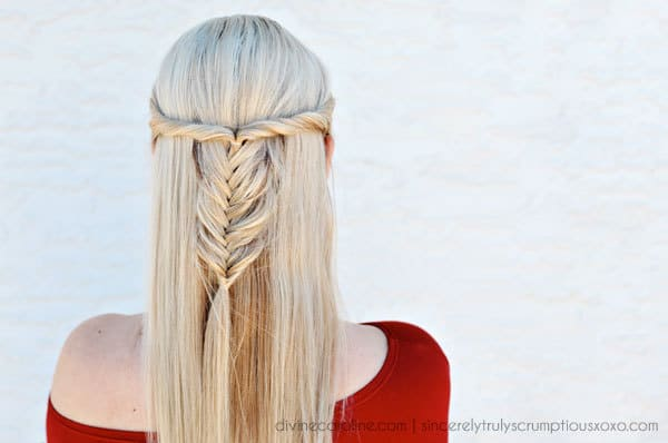 bohemian halfup fishtail braid