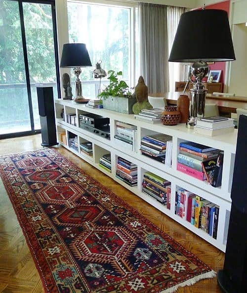 bookcases behind couch