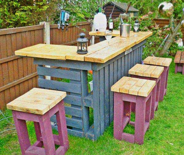 colorful wooden bar