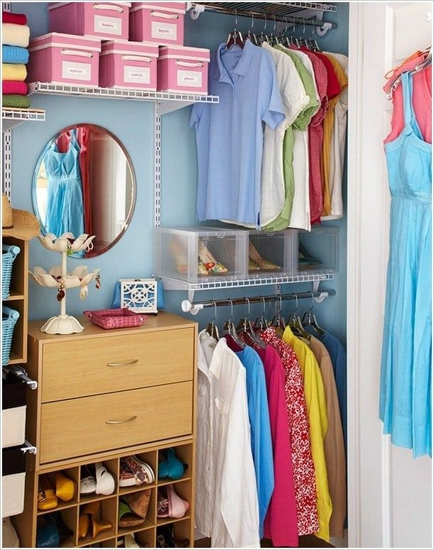 cubbies in closet