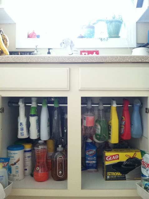 hang cleaning products under sink