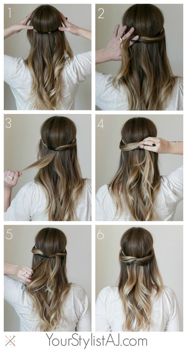 halfup headband hairstyle