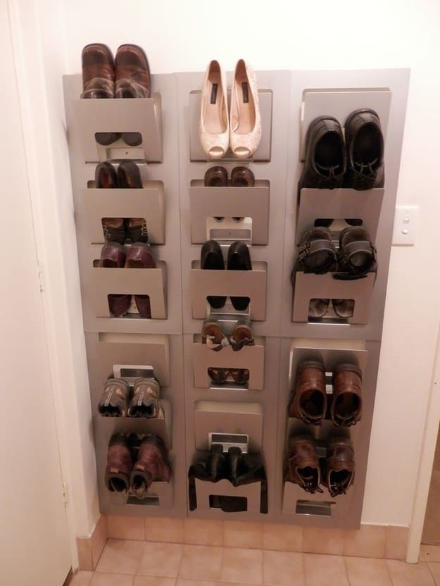 shoes hanging walls
