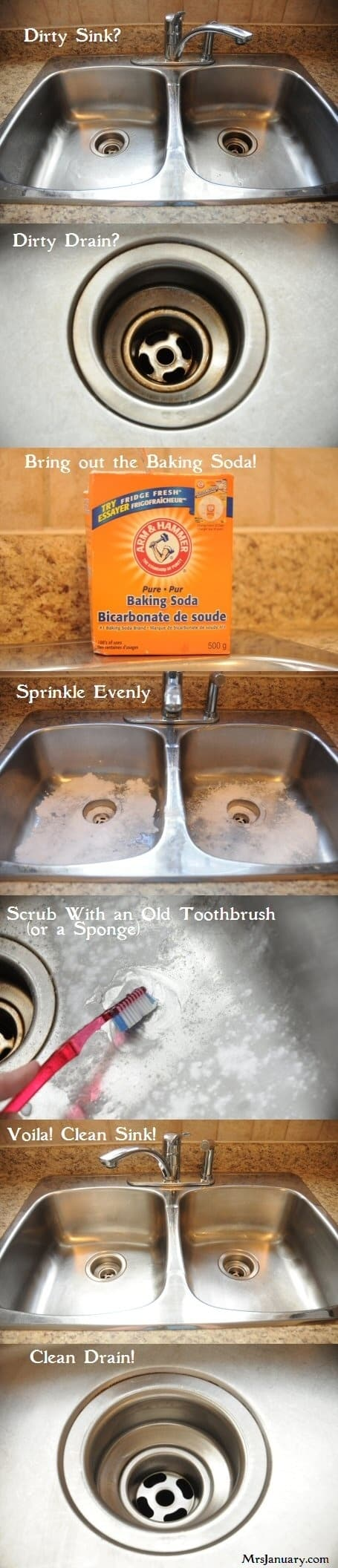 Clean A Stainless Steel Sink With Baking Soda: