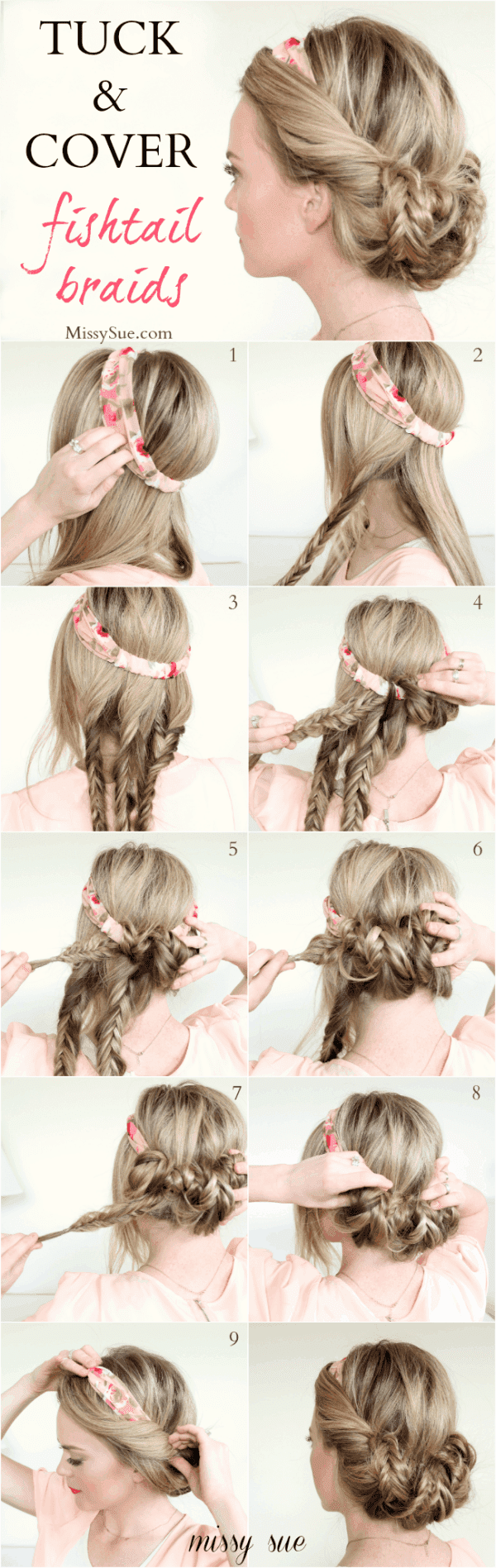 33 gorgeous hairstyle tutorials to diy at home diy cozy home 3 tuck and cover fishtail braids baditri Gallery