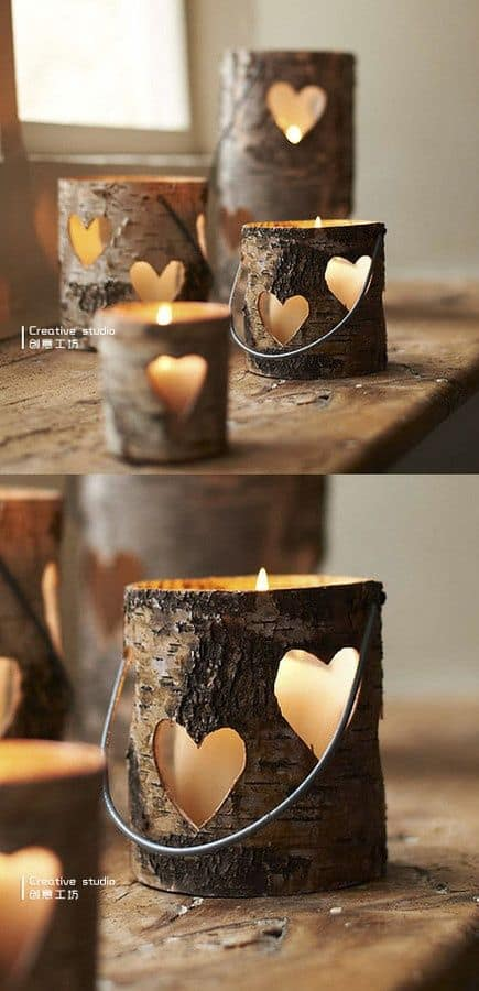 wooden heart luminaries