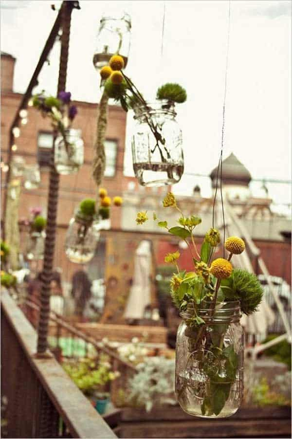 balcony decor mason jars