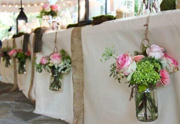 flower decor mason jars