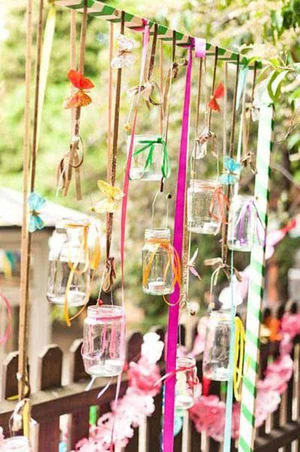 mason jars with ribbons and butterflies