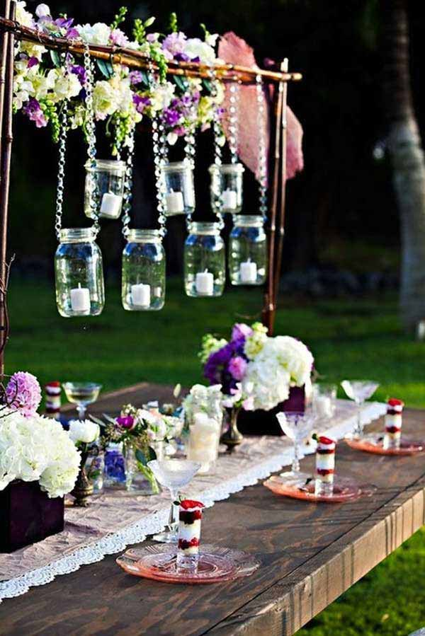 hanging mason jars centerpiece