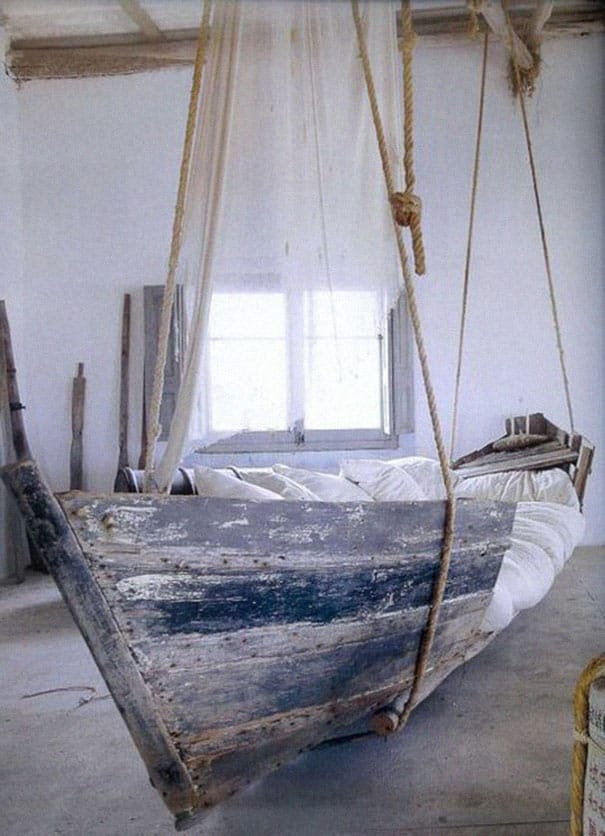 old boat hanging bed
