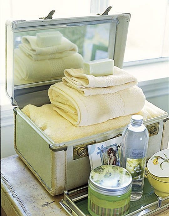 old suitcase for towels