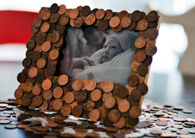 penny covered photo frame