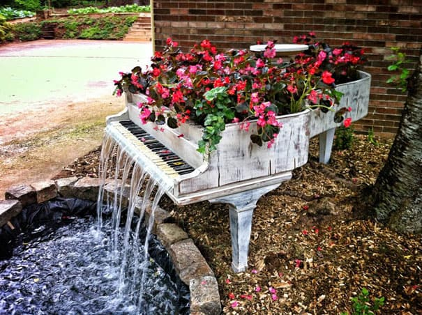 outdoor fountain from piano