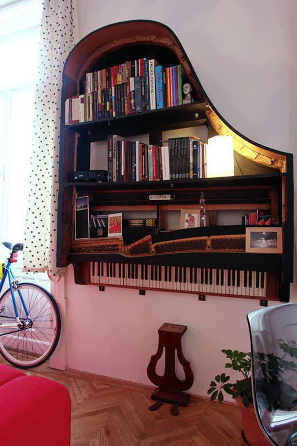 piano to bookshelf