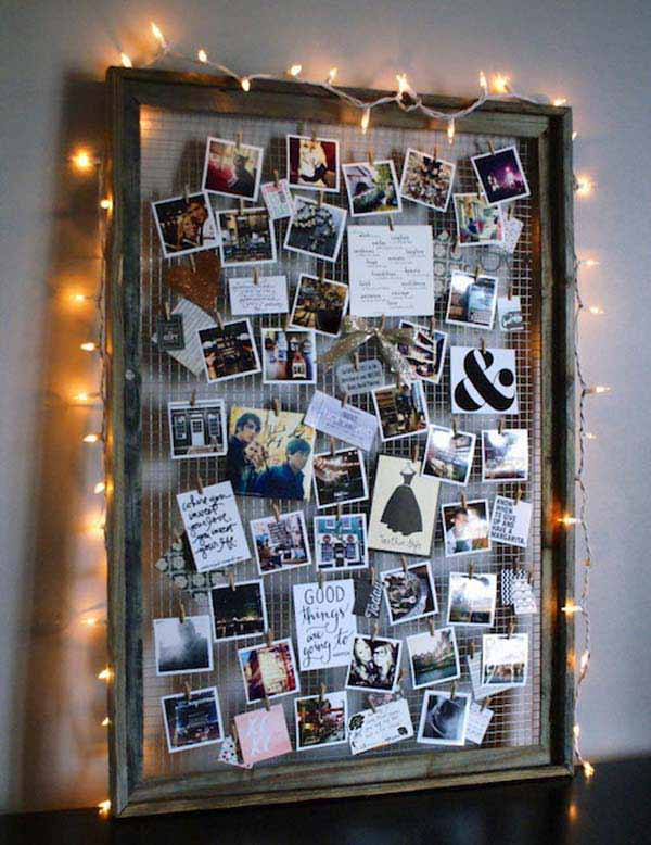 photos on wire grid
