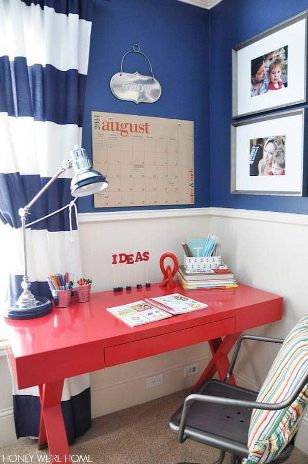 red and blue desk area