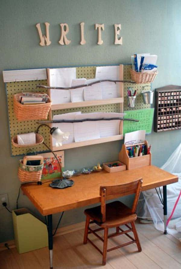 work area with peg board