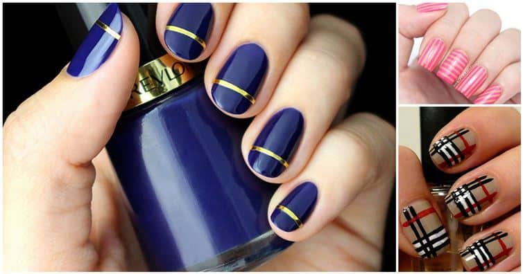 Striped nail polish ideas you can totally do yourself diy cozy home striped solutioingenieria Image collections